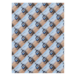 Women fly: blue helicopter tablecloth