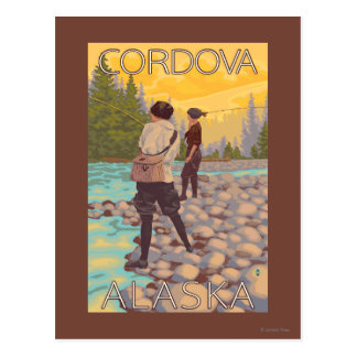 Women Fly Fishing - Cordova, Alaska Postcard