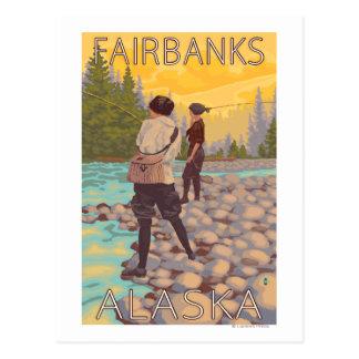 Women Fly Fishing - Fairbanks, Alaska Postcard