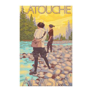 Women Fly Fishing - Latouche Alaska Stretched Canvas Print
