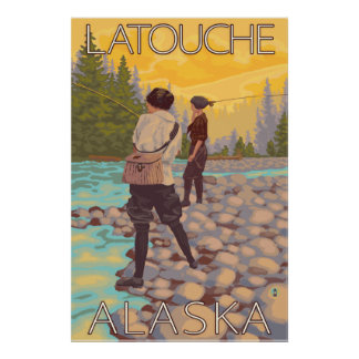 Women Fly Fishing - Latouche, Alaska Poster