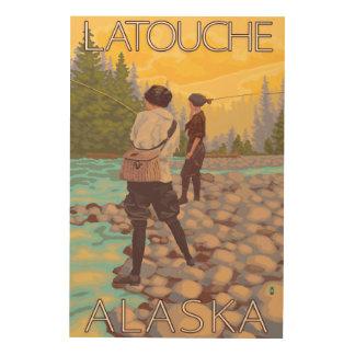 Women Fly Fishing - Latouche, Alaska Wood Canvas