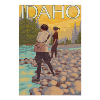Women Fly FishingIdahoVintage Travel Poster
