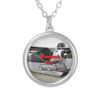 Women fly: float plane 1, Alaska Silver Plated Necklace
