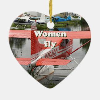 Women fly: float plane 23, Alaska Ceramic Ornament