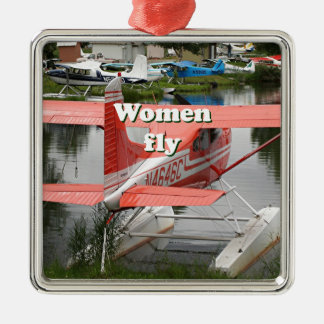 Women fly: float plane 23, Alaska Silver-Colored Square Decoration