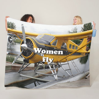 Women fly: float plane, Alaska Fleece Blanket