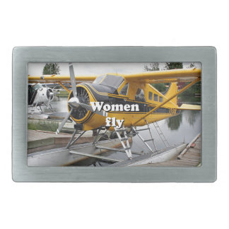 Women fly: float plane, Lake Hood, Alaska Belt Buckle