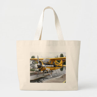 Women fly: float plane, Lake Hood, Alaska Large Tote Bag