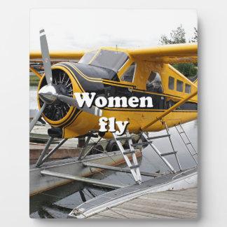 Women fly: float plane, Lake Hood, Alaska Plaque