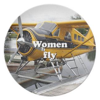 Women fly: float plane, Lake Hood, Alaska Plate