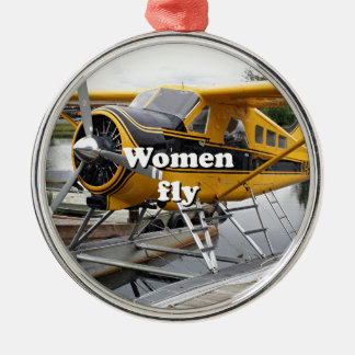 Women fly: float plane, Lake Hood, Alaska Silver-Colored Round Decoration