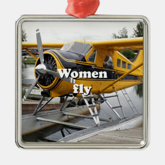 Women fly: float plane, Lake Hood, Alaska Silver-Colored Square Decoration
