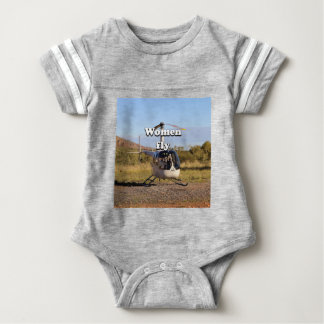 Women fly: Helicopter (white) 2 Baby Bodysuit