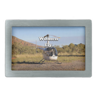 Women fly: Helicopter (white) 2 Belt Buckles