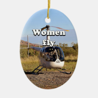 Women fly: Helicopter (white) 2 Ceramic Ornament