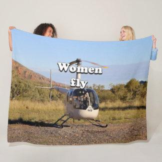 Women fly: helicopter (white) 2 fleece blanket