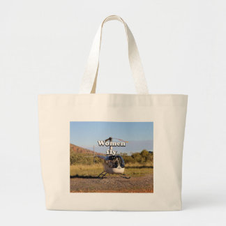 Women fly: Helicopter (white) 2 Large Tote Bag