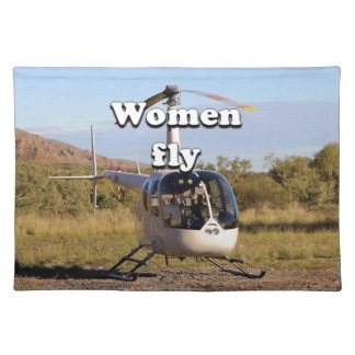 Women fly: Helicopter (white) 2 Placemat