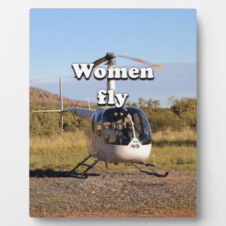 Women fly: Helicopter (white) 2 Plaque