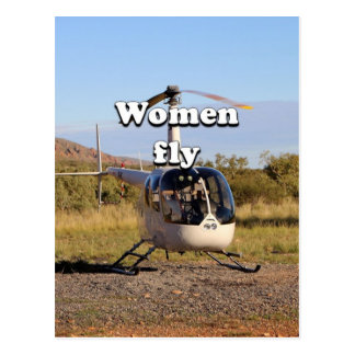 Women fly: Helicopter (white) 2 Postcard