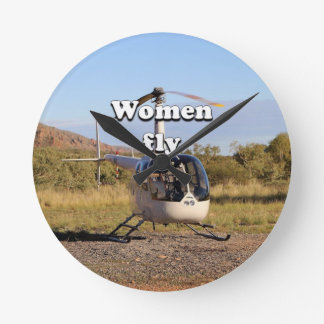 Women fly: Helicopter (white) 2 Round Clock