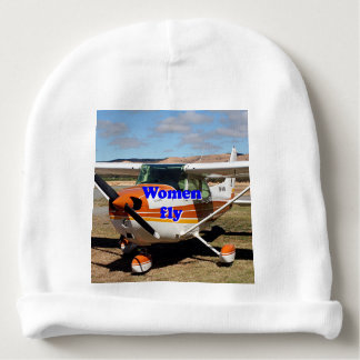 Women fly: high wing aircraft baby beanie
