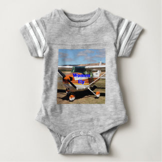 Women fly: high wing aircraft baby bodysuit