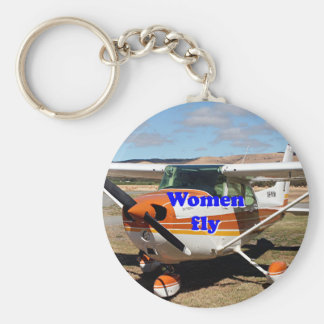 Women fly: high wing aircraft basic round button key ring