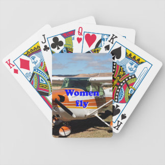 Women fly: high wing aircraft bicycle playing cards
