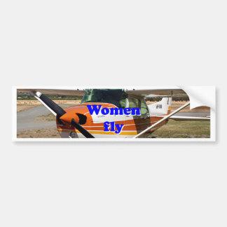 Women fly: high wing aircraft bumper sticker