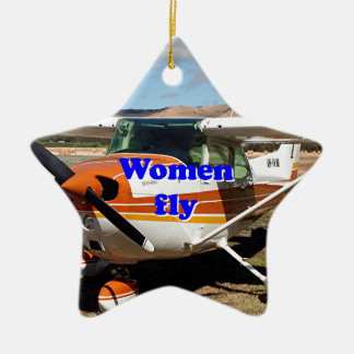 Women fly: high wing aircraft ceramic ornament