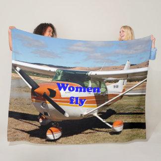 Women fly: high wing aircraft fleece blanket