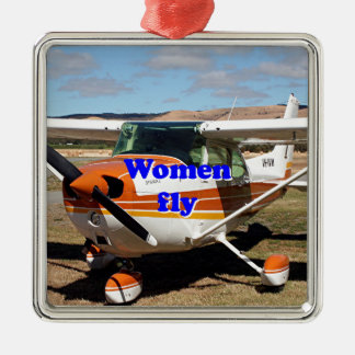 Women fly: high wing aircraft metal ornament