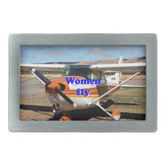 Women fly: high wing aircraft rectangular belt buckles
