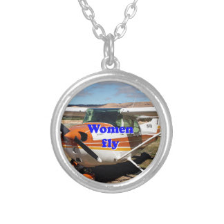 Women fly: high wing aircraft silver plated necklace