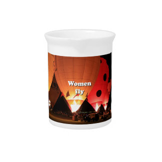Women fly: hot air balloon 2 beverage pitchers