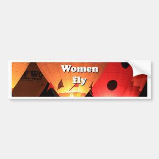 Women fly: hot air balloon 2 bumper sticker