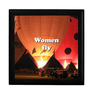 Women fly: hot air balloon 2 large square gift box