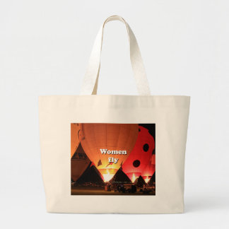 Women fly: hot air balloon 2 large tote bag
