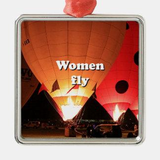 Women fly: hot air balloon 2 metal ornament
