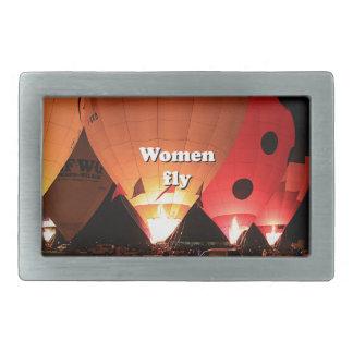 Women fly: hot air balloon 2 rectangular belt buckles