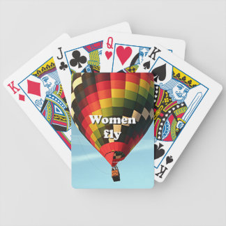 Women fly: hot air balloon bicycle playing cards