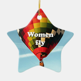 Women fly: hot air balloon ceramic ornament