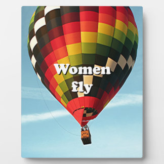 Women fly: hot air balloon display plaques