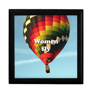 Women fly: hot air balloon large square gift box