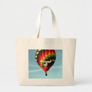 Women fly: hot air balloon large tote bag