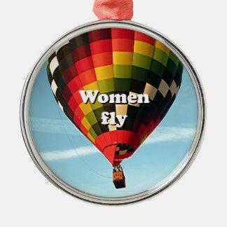 Women fly: hot air balloon metal ornament