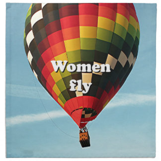 Women fly: hot air balloon napkin