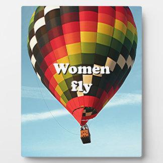 Women fly: hot air balloon photo plaque